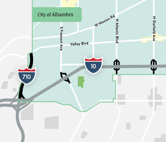 City of Alhambra map with four project improvements